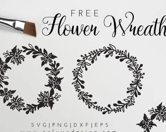 FREE SVG & PNG Link   Flower Wreath Cut Files, svg, png, dxf, eps   Commercial Use   circuit, cameo silhouette   Floral Clipart
