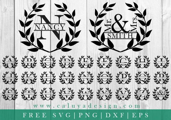 Free Svg Png Link Wreath Split Monogram Cut Files Svg Etsy