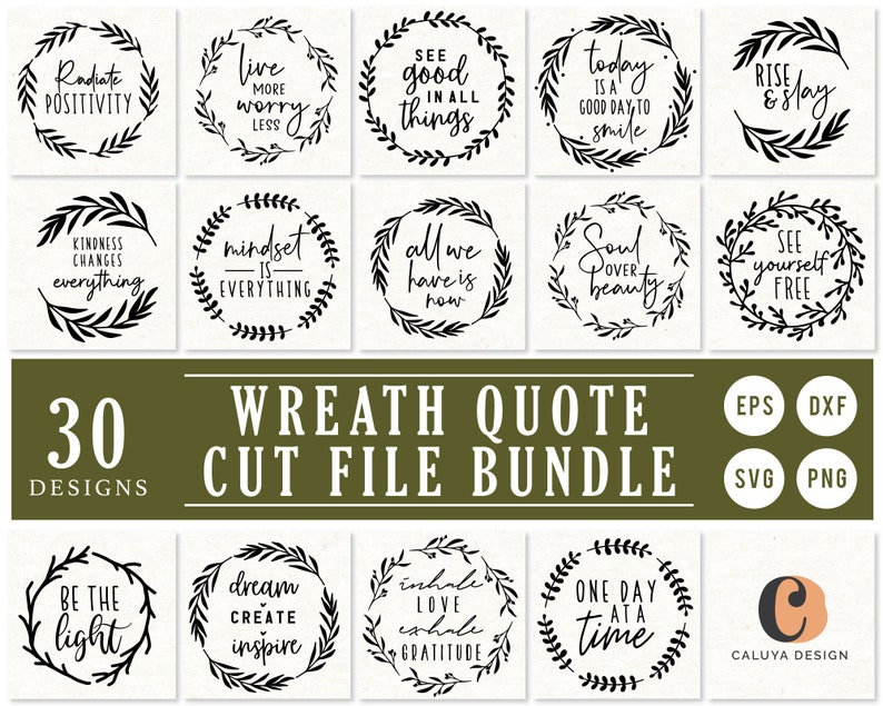Inspirational Quote with Wreath SVG Cut File for Cricut Cameo image 0