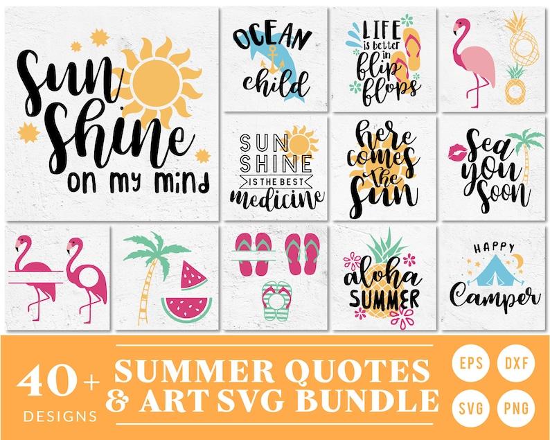 Summer Quotes SVG Cut File Bundle Deal  Cut File for Cricut & image 0