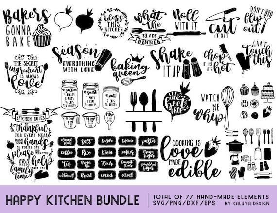 Happy Kitchen Svg Cut File Bundle Deal Cut File For Cricut Cameo Silhouette Kitchen Dxf Cut File Kitchen Quote Cut File Quotes