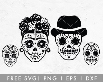 Sugar Skull SVG Cutting File for Cricut, Cameo Silhouette   Boho Cinco De Mayo Skull Design, Halloween Skeleton SVG Cut File, Floral Skull