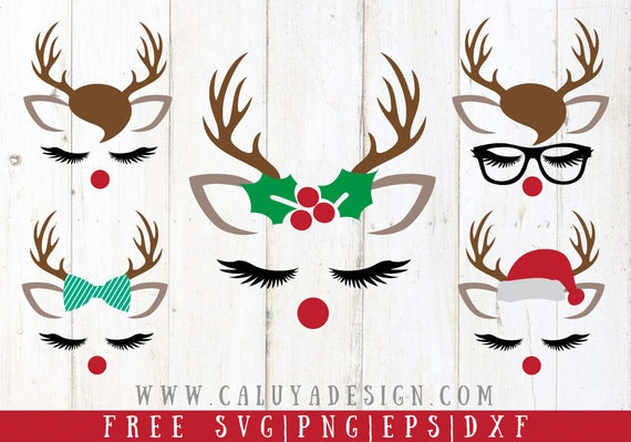 Free Svg Png Link Christmas Reindeer Faces Cut Files Svg Etsy