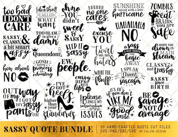 sassy quote svg cut file bundle deal cut file for cricut etsy