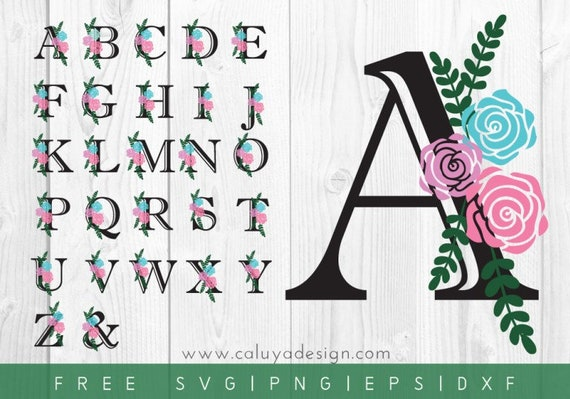 Free Svg Png Link Floral Alphabet Cut Files Svg Png Etsy
