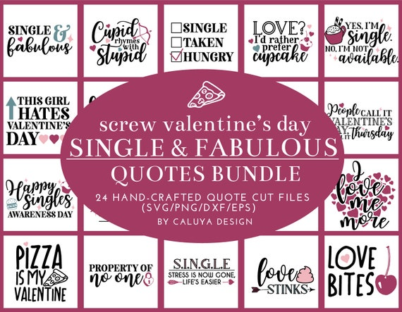 Anti-Valentine\'s Day SVG Cut File Bundle Deal | Cut File for Cricut & Cameo  Silhouette | Quote DXF Cut File | Valentine\'s Day Cut Files