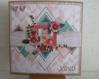 card with an image of a little girl and flowers with a 3D