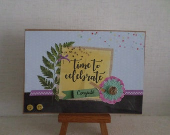 """""""time to celebrate"""" card with foliage, flowers, fake 3D yellow buttons"""