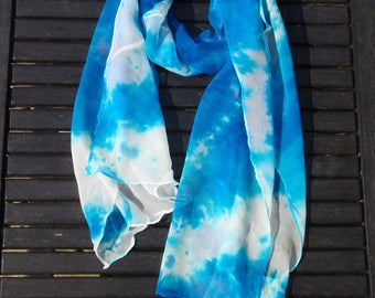 Scarf silk scarf chiffon blue and white, handpainted, handmade, unique piece
