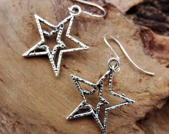Star earrings in silver, sky, stars, Sterling Silver bail.