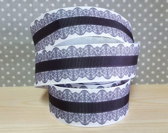 1 meter of Ribbon black and white