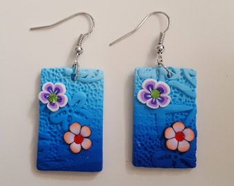 Polymer clay rectangular earrings