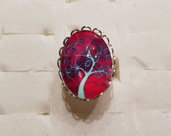 Tree of life ring blue