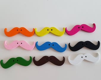 Set of 10 wooden mustache multicolored buttons