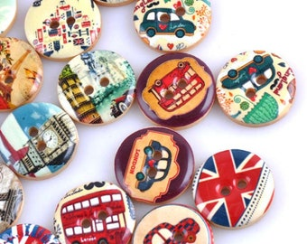 Set of 5 buttons assortment of landmarks and London Illustration