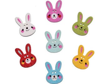 Set of 10 wooden Bunny buttons