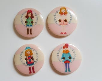 5 buttons wood girls fashion