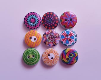 Set of 10 multicolored round wooden buttons