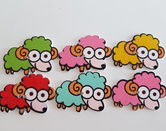 Set of 5 sheep buttons play