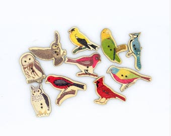 Set of 10 assorted birds and owls wooden buttons