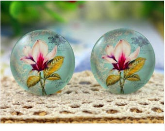 Set of 3 orchid flower glass Cabochons