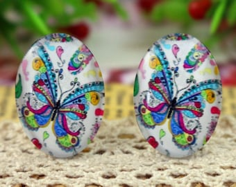Set of 7 Butterfly glass Cabochons