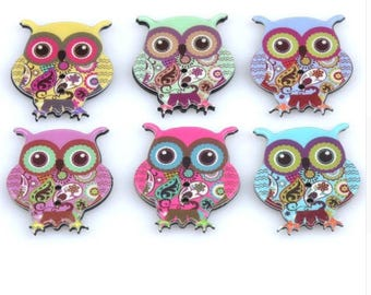 Set of 5 resin owls buttons