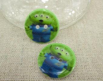 Set of 5 resin alien buttons