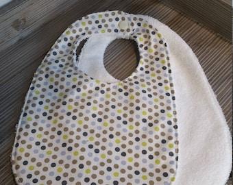 Soft bib Brown green white purple polka dot pattern