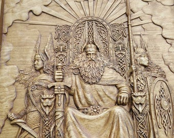 Vikings Norse God Odin Wood Carved Wall Art Home Decor Valkyrie, Valhalla,  Vikings 430x295mm