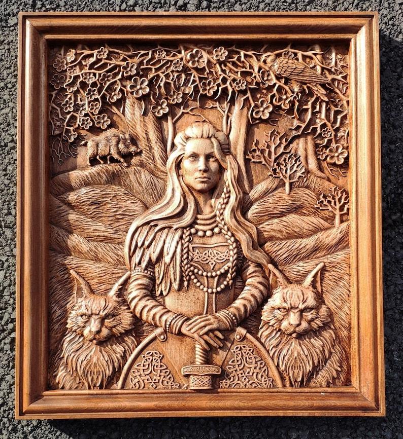 Norse goddess Freyja Home Decor wood carving Viking Mythology Gods Pagan  Heathen Asatru Celtic Norse Wall Hanging Thor Odin Valkyrie Freya