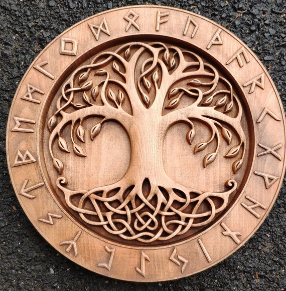 magasin d'usine c1ce8 564a6 Yggdrasil - the mighty tree of life norse mythology odin vallhala  woodcarving pagan heathen asartu celtic wall hanging vikings runes