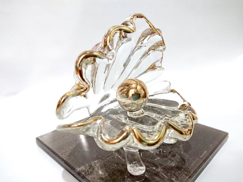 Clear 4 Nacre Pearl Figurines Animals Hand Blown Glass Art W22K Gold Trim Collectible Gift Decorate