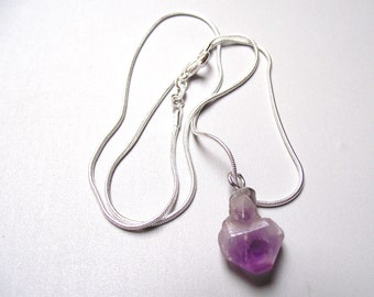 Raw Amethyst pendant necklace 925 sterling silver snake chain.