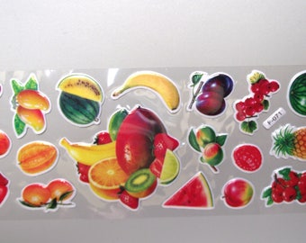 Set of 4 sheets stickers fruits & vegetables.