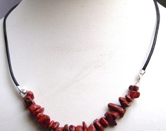 Black leather and Red Jasper bead Choker necklace.