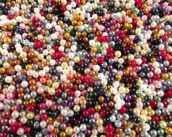 Set of 100 multicolored 4 mm Pearl glass beads.