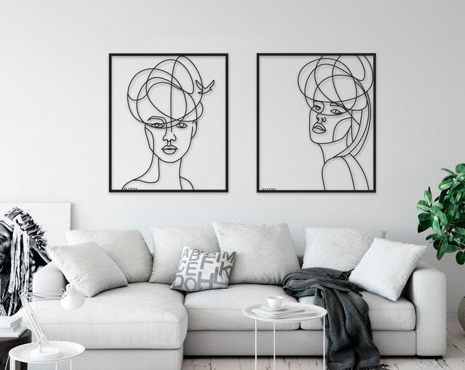 Xl One Line Art Metal Home Decor Women Portrait Wall Art Etsy
