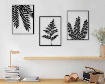Set of 3 wall art plants wall art leaves wall art laser cut design leaves print plants wall hanging office decor living room decor & Leaves wall art | Etsy