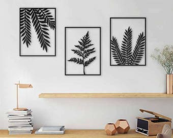 Set of 3 wall art plants wall art leaves wall art laser cut design leaves print plants wall hanging office decor living room decor : wall art leaves - www.pureclipart.com