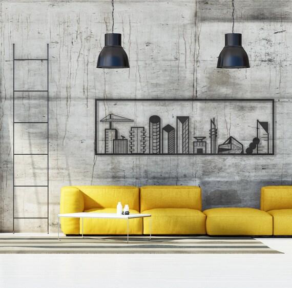 City Skyline Metal Home Decor Urban Art Metal Wall Decor