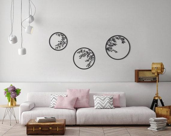 & Set of 3 wall art metal wall decor japanese metal wall art