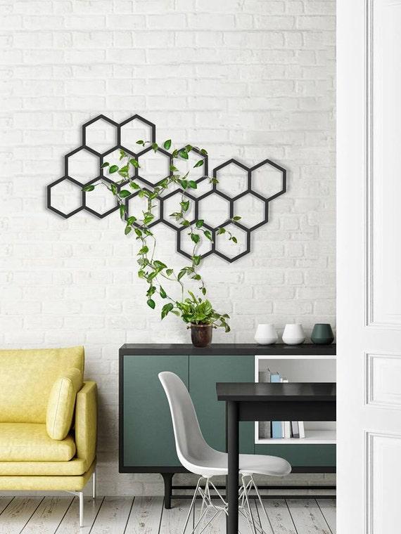 Metal Wall Hanging Geometric Planter Interior Decor Etsy