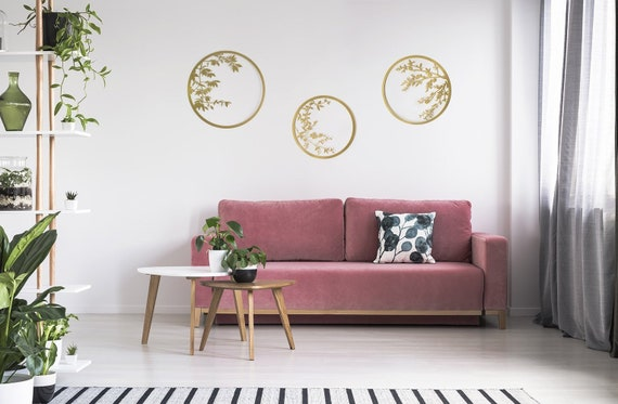 Set Of 3 Wall Art Gold Wall Decor Metal Wall Art Interior Etsy