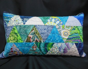 "Pillow cover patchwork rectangle, matching plaid ""dive"" (C363R)"