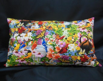 Birds and butterflies in the middle of the flowers (C216R) rectangle Cushion cover