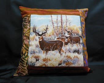 """Collection """"Indian summer"""", square Cushion cover 1 deer and her DOE their Fawn (C303)"""