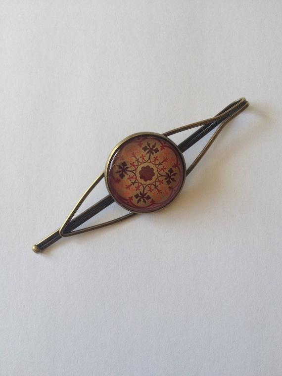 Barrette cabochon couleur bronze