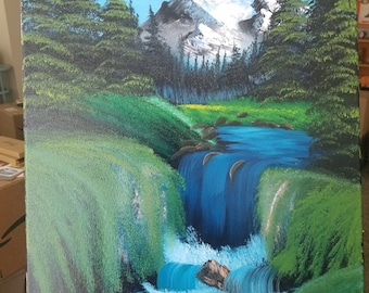 Valley Waterfall 16x20 (Bob Ross Inspired)