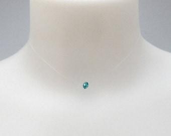 Minimalist necklace, 1 blue swarovski Pearl. (36 40.5 cm)